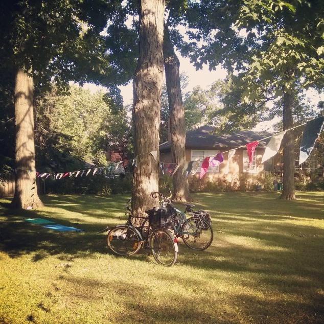 bikes at yoga in park